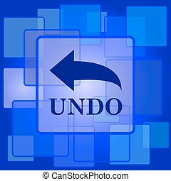Undo icon. Internet button on abstract background.