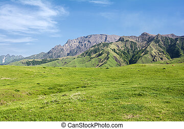 Undulating mountain peaks and grassy plain under blue sky