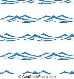Undulating blue ocean an sea waves seamless background pattern in square format for textile or wallpaper design