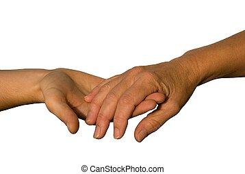 une, aides, autre, main