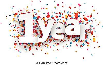 une, année, papier, confetti, signe.