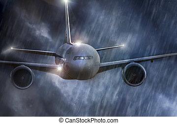 une, avion, mi air, dans, intempérie