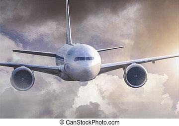 une, avion, mi air