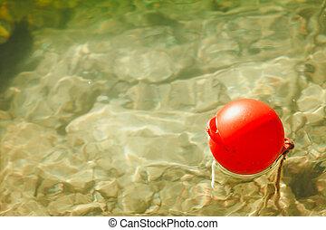une, balle, rouges, bouée