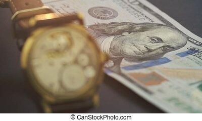 une, billet banque, montre, dollar, arriver en voiture, ...