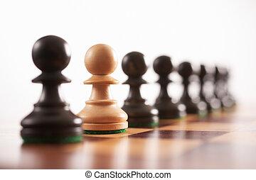 une, bizarre, échecs, dehors
