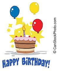 une, bougie anniversaire, gâteau