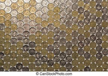 une, carreau, rubl, fond, pièces