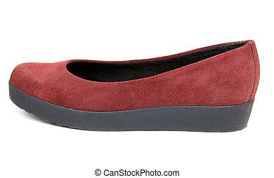 une, chaussure, femme, rouges
