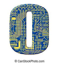 une, chiffre, depuis, les, électronique, technologie, circuit électronique, alphabet, sur, a, fond blanc, -, 0