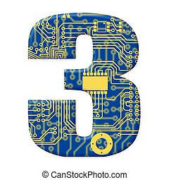 une, chiffre, depuis, les, électronique, technologie, circuit électronique, alphabet, sur, a, fond blanc, -, 3
