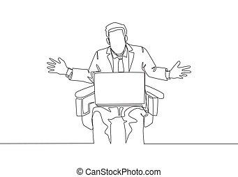 une, continu, sien, performance, vecteur, dessiner, risque, données, jeune, unique, affaires illustration, regarder, homme affaires, confondu, conception, séance, dessin, concept, chaise, ligne, mauvais, laptop., ventes