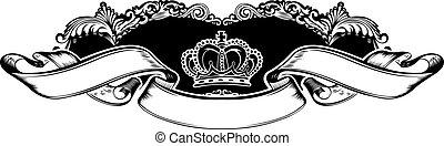 une, couleur, couronne royale, vendange, courbes, bannière