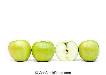 une, coupé, pommes vertes, frais, iwth
