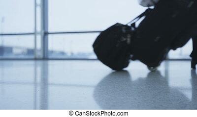 une, courant, marche, lent, bas, vidéo, passagers, luggage...
