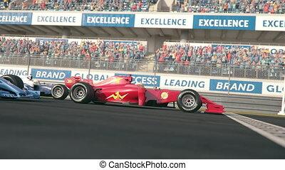 une, course, trois, voitures, côté, finition, lent, ligne,...