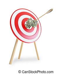 une, flèche, obtenu, dans, a, cible, à, dollars