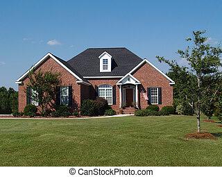 une, histoire, brique, résidentiel, maison