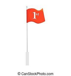 une, icône, isolé, emplacement, nombre, drapeau