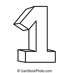 une, nombre, figure, icône