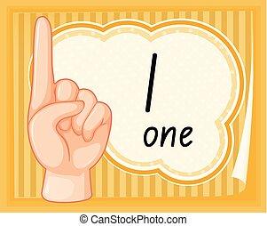 une, nombre, geste, main