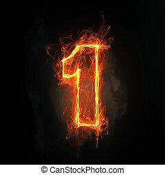 une, nombre, icône