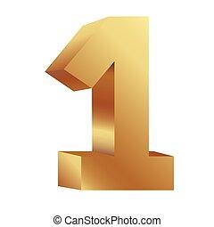 une, nombre, or, icône