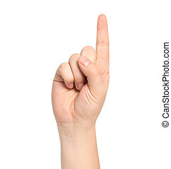 une, nombre, projection, isolé, main, mâle