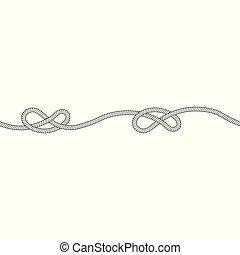 une, overhand, style, seamless, noeud, croquis, modèle, corde, horizontal, contour