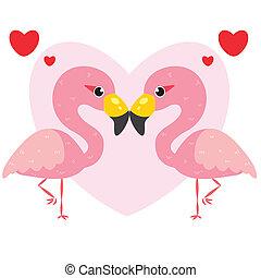 une, paire, flamants rose, mignon