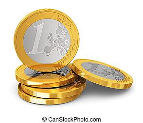 une, pièces, pile, euro