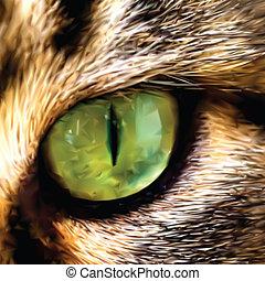 une, projection, maine, figure, vecteur, chat, nègre, eye.