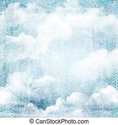 une, résumé, vendange, texture, fond, à, clouds.