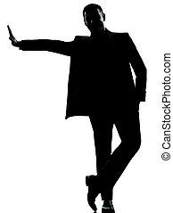 une, silhouette, homme affaires