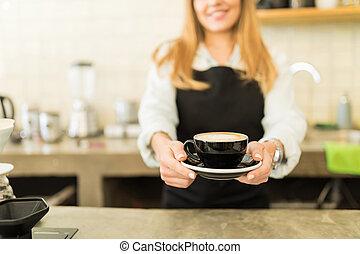 une, sourire, cappuccino, tasse
