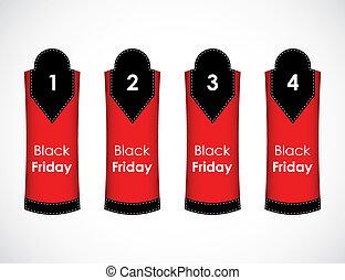 une, texte, vendredi, -, trois, deux, quatre, vecteur, noir, étiquette papier
