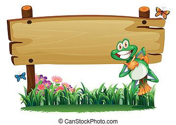 une, vide, bois, enseigne, à, a, espiègle, grenouille