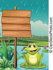 une, vide, planche, à, a, grenouille verte