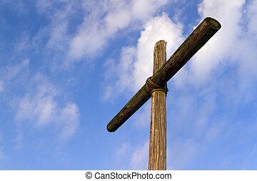 une, vieux, accidenté, bois, croix