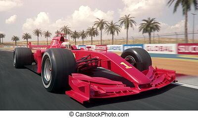 une, voiture course, travers, finition, ?, ligne, devant, rouges, conduite, droit, formule, vue