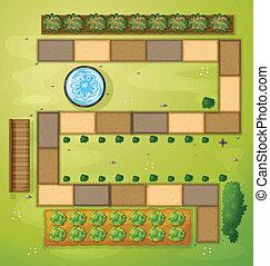 une, vue aérienne, de, a, jardin