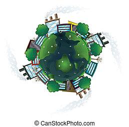 une, vue aérienne, de, les, terre planète