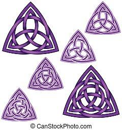 une, wicca, triquetra, conception, cercle, intérieur, autre...