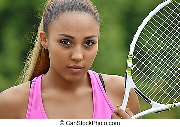 Unemotional Girl Tennis Player