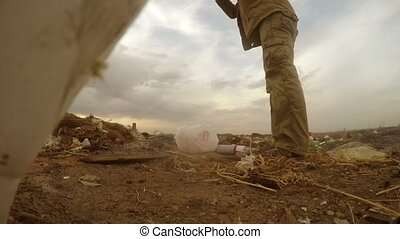 unemployed dump man homeless dirty looking food waste in a landfill social  video