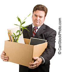 Unemployed Executive - Recently fired businessman holding a...