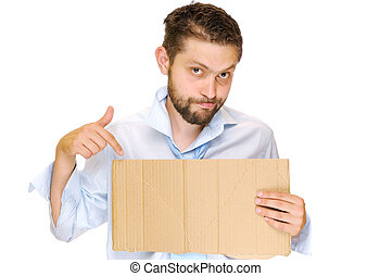 Unemployed - Fired businessman with messy cardboard frame....