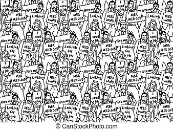 Unemployed jobless business people crowd top managers black and white. Monochrome vector illustration. EPS8
