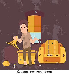 Unemployed man in dirty room, jobless person in messy house, poor person apartment, vector illustration