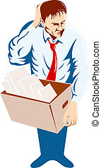 Illustration of an unemployed man with a box on a white background on a high angle